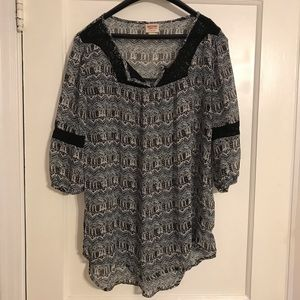Printed Sheer Mossimo Supply Co. Blouse